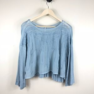 Free People Pandora's Embroidered Crop Top Size XS